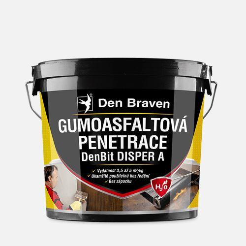 Gumoasfaltová penetrace DenBit DISPER A Den Braven, kbelík 10 kg, černá